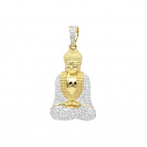 Solid 10K Gold Diamond Buddha Pendant 1/2ct by Luxurman