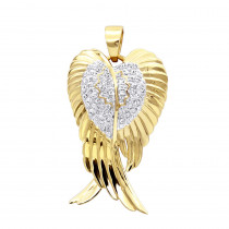 Solid 10k Gold Real Diamond Angel Wings Pendant Necklace 0.35ct