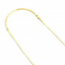 Solid 10K Yellow Gold Herringbone Chain Necklace for Women 2.8mm