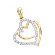 Solid 14K Gold Real Diamond Double Heart Pendant 0.1ct by Luxurman