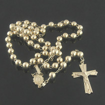 Solid 14K Gold Rosary Beads Necklace 21in long 7mm wide