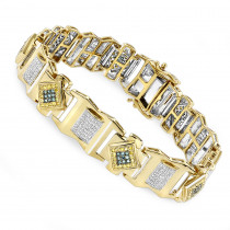 Solid Gold Mens Diamond Bracelet Yellow Blue White 2.5 ct
