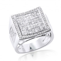 Square 14K Gold Mens Princess Cut Diamond Ring 2.65ct