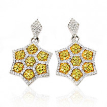 Star Dangle Earrings with White and Yellow Diamonds 0.80ct 14K