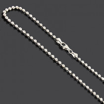 Sterling Silver Bead Chain Dog Tag Necklace 3mm 22