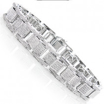 Sterling Silver Bracelets: Mens Diamond Bracelet 0.84ct