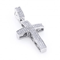 Sterling Silver Diamond Cross Pendant 1/2ct