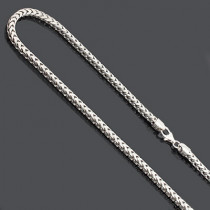 Sterling Silver Diamond Cut Franco Chain Necklace 3.5mm 36""