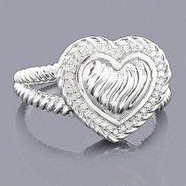 Sterling Silver Diamond Heart Ring 0.13ct