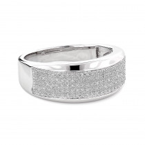 Sterling Silver Mens Diamond Wedding Band 0.32ct