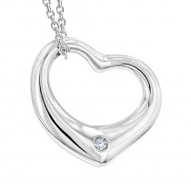Sterling Silver Open Heart Diamond Necklace with Chain Luxurman Love Quotes