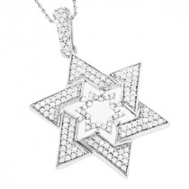 Sterling Silver Star of David Diamond Pendant 0.53ct