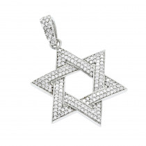Sterling Silver Star of David Diamond Pendant 0.63ct