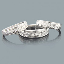 Sterling Silver Trio Diamond Ring Set 0.17ct