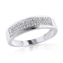 Sterling Silver Wedding Bands: Mens Diamond Ring 0.34ct