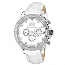 Swiss Mvt Men's Diamond Watches Luxurman Liberty 2c  Leather Band White MOP