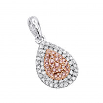 Teardrop 14K Gold White Pink Diamond Ladies Pendant 0.5ct by Luxurman