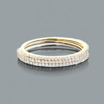 Ultra Thin Trio Stackable Diamond Ring Set 0.42ct 14K Gold