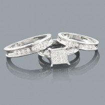 Trio Wedding Ring Sets: Diamond Band Set 0.92ct 14K