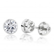 Two Carat 14K Gold Solitaire Round Diamond Bezel Stud Earrings