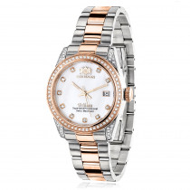 Two Tone Rose Gold Plated Women's Diamond Watch 1.5ct Luxurman Tribeca