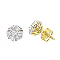 Unique 1 Carat Diamond Earrings Studs in 14k Gold by Luxurman