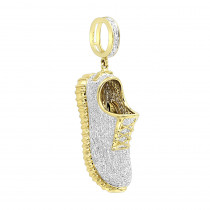 Unique 10K Gold Sneaker Shoe Diamond Pendant for Men 1.13ct by Luxurman