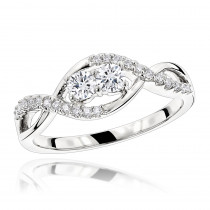 Unique 14K Gold 2 Stone Diamond Infinity Ring for Women by Luxurman 0.4ct