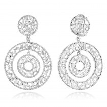 Unique 14K Gold Designer Baguette Round Diamond Earrings for Women 7ct