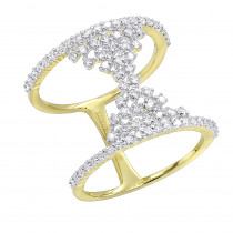 Unique 14K Gold Designer Diamond Cocktail Ring for Women 0.75ct by Luxurman