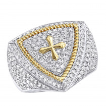 Unique 14k Yellow White Gold Cross Diamond Ring for Men by Luxurman 1.5ct
