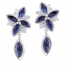 Unique 18K Gold Ladies Designer Diamond Flower Earrings Blue Sapphires