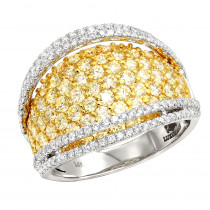 Unique 3 Carat Ladies White Yellow Diamond Cocktail Ring 14K Gold Luxurman