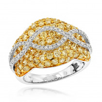 Unique 3.7ct Ladies White Yellow Diamond Cocktail Ring 14K Gold by Luxurman