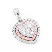 Unique Designer One Carat White and Pink Diamonds Heart Pendant 14K Gold