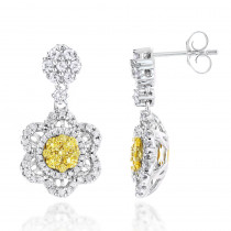 Unique Designer White and Yellow Diamond Womens Earrings 14K Gold 2 Carat