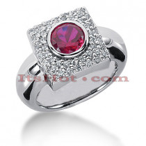 Unique Ladies Diamond and Ruby Ring 14K Gold 0.70ctd 1.00ctr