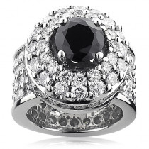 Unique Mens Gigantic White and Black Diamond Ring 13ct 14K Gold