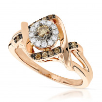 Unique White and Brown Champagne Diamonds Ladies Ring 0.35ct 14K Gold