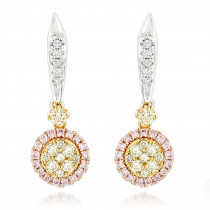 Unique White Yellow Pink Diamond Drop Earrings for Women 0.9ct 14K Gold