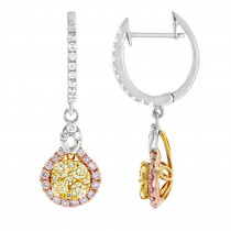 Unique White Yellow Pink Diamond Ladies Drop Earrings by Luxurman 1.3ct