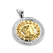 Versace Style Medusa Diamond Pendant in 14K Two Tone Gold 1ct
