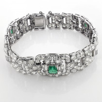 Vintage Fine Estate Jewelry: Platinum Diamond Bracelet for Women w Emeralds