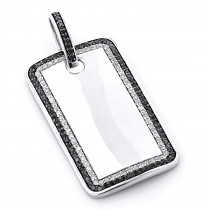 White and Black Diamond Dog Tag Pendant 1.5ct Sterling Silver
