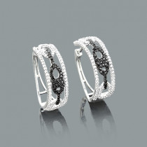 White and Black Diamond Hoop Earrings 0.82ct 14K Gold
