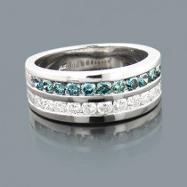 White and Blue Diamond Wedding Band 1.32ct 14K Gold Unique Rings