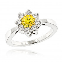 White and Yellow Diamond Cluster Rings for Women: 14K Gold Daisy Ring 1.2ct