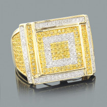 White and Yellow Diamond Mens Ring 1.22ct 10K Gold