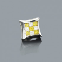 White and Yellow Diamond Stud Earring 0.50ct 14K Gold
