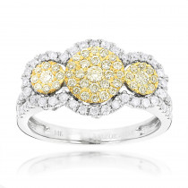 White and Yellow Diamonds Right Hand Ring for Women Cluster Design 14k Gold